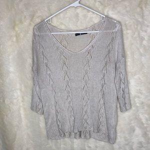 Brandy Melville | Oatmeal Crochet Sweater